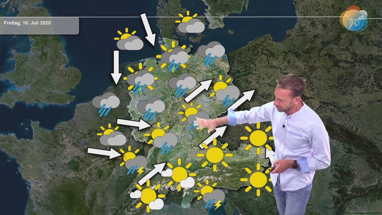 Aktuelle Wettervorhersage 9. Juli 2020: Heute Warmfront, morgen Kaltfront, Wochenende freundlicher.